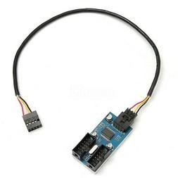 1 to 2 Splitter Port Motherboard USB 9Pin Header Multiplier