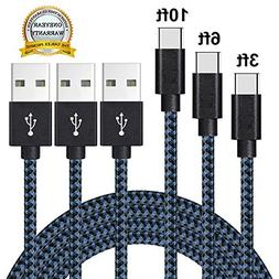 Type C Cable, MCUK 3 Pack 3Ft 6Ft 10Ft Nylon Braided Chargin