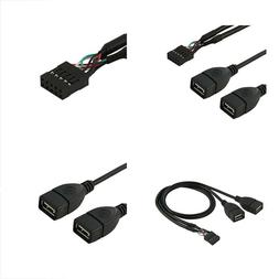 CY 10 Pin Motherboard Female Header to Dual USB 2.0 Female A