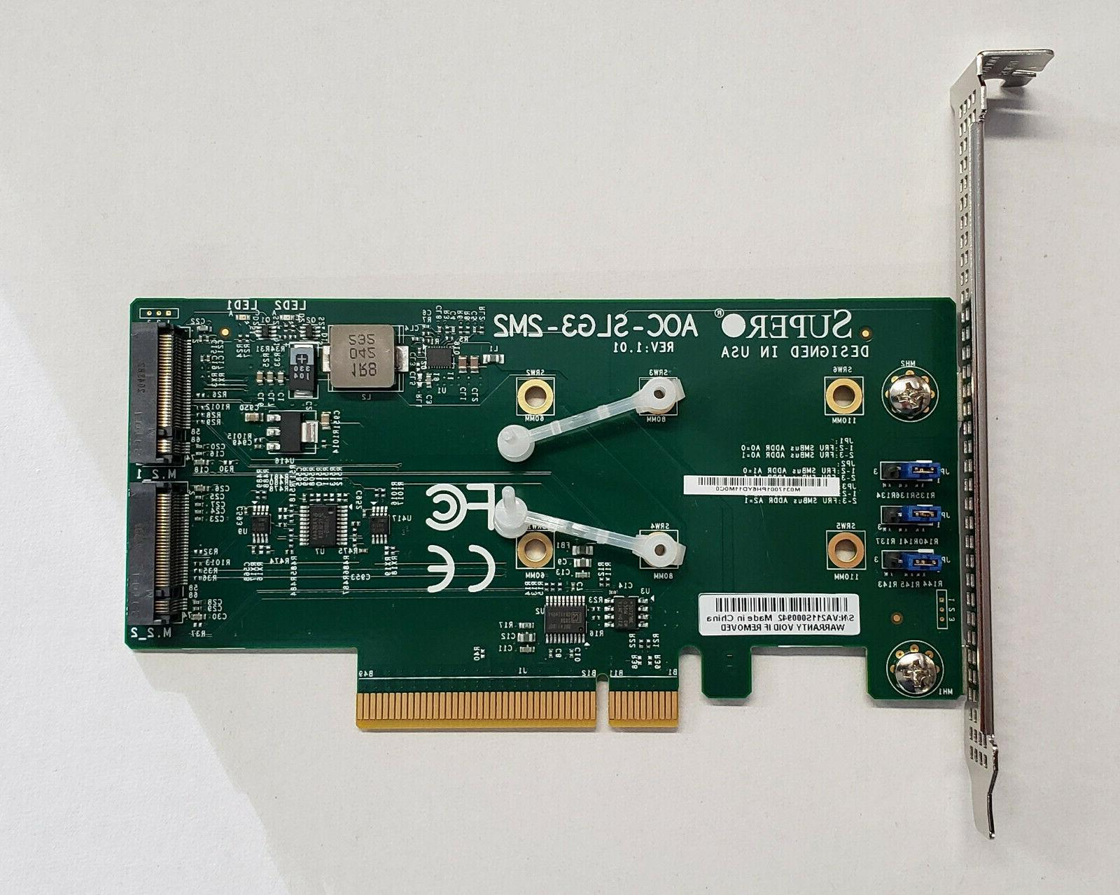 Supermicro AOC-SLG3-2M2 PCIe Add-On Card for up to two NVMe