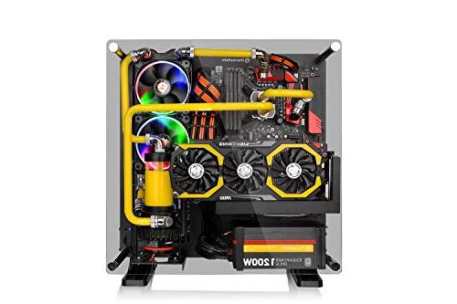 Thermaltake P3 Tempered Glass Computer Case Chassis, Open Panoramic Glass Riser Black Edition,
