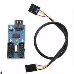 Motherboard USB 9Pin Interface Header Splitter 1 to 2 Extens