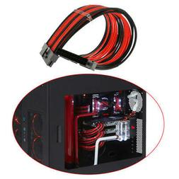 NEW  24-PIN MOTHERBOARD EXTENSION POWER CABLE BLACK&RED COMP