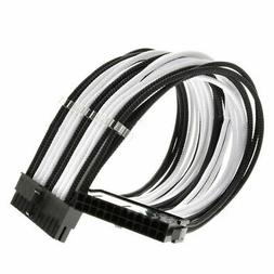 New  24-Pin Motherboard Extension Power Cable Black&White Co