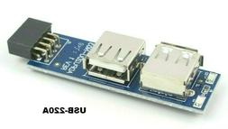 NEW! Motherboard I Type 9 PIN USB 2.0 Header to 2 Ports USB