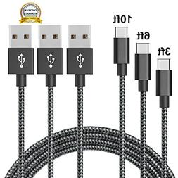 USB Type C Cable, MCUK 3 Pack 3ft 6ft 10ft Nylon Braided USB